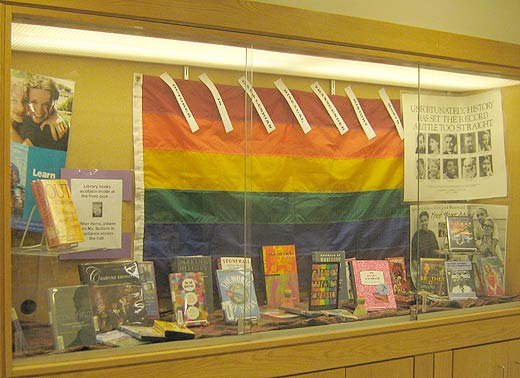 BELOW: Gay History Month display at Lexington High School.