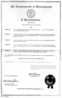 Mitt Romney's Proclamation as Massachusetts Governor urging all citizens to celebrate Gay/Straight Youth Pride Day