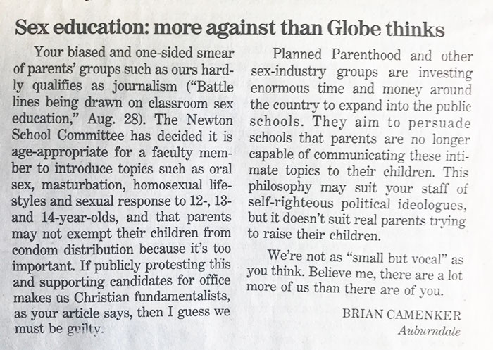 Boston Globe letter to the editor