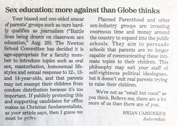 Boston Globe letter to the editor